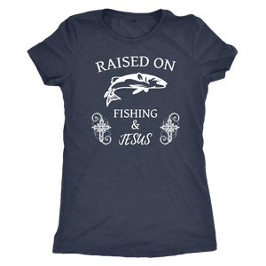 Fishing and Jesus, White T-shirt Next Level Womens Triblend Vintage Navy S