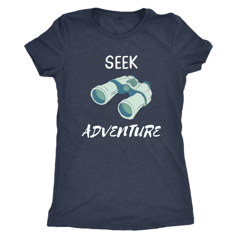 Image of Seek Adventure with Binoculars (Womens) T-shirt Next Level Womens Triblend Vintage Navy S