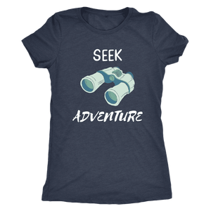 Seek Adventure with Binoculars (Womens) T-shirt Next Level Womens Triblend Vintage Navy S