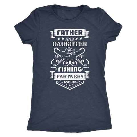 Image of Father and Daughter Fishing Partners T-shirt Next Level Womens Triblend Vintage Navy S