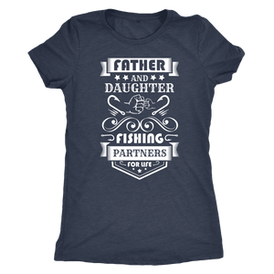 Father and Daughter Fishing Partners T-shirt Next Level Womens Triblend Vintage Navy S