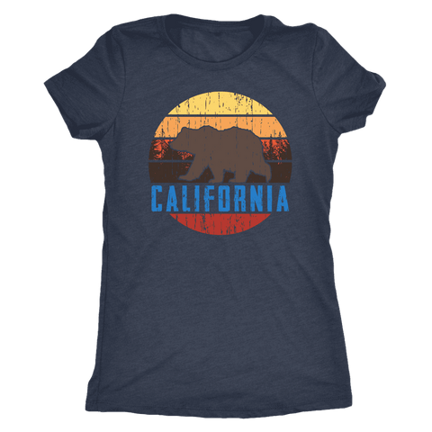 Image of Big Bear California Shirt V.1, Womens Shirts T-shirt Next Level Womens Triblend Vintage Navy S