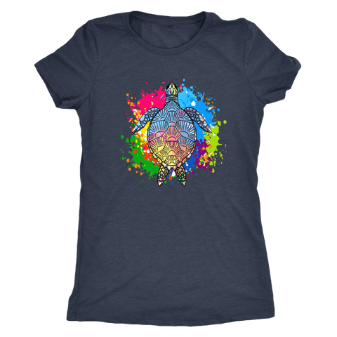 Image of Vibrant Color Splash Sea Turtle T-shirt Next Level Womens Triblend Vintage Navy S