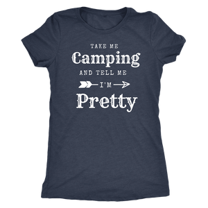 Take Me Camping, Tell Me I'm Pretty Womens Shirt T-shirt Next Level Womens Triblend Vintage Navy S