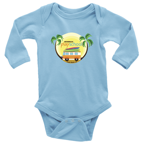 Image of Newbreak Playschool Onesie T-shirt Long Sleeve Baby Bodysuit Light Blue NB