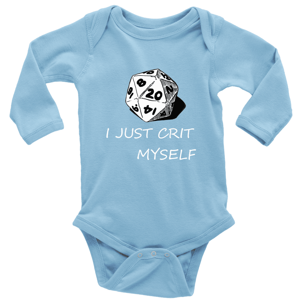 I Just Crit Myself Onsies T-shirt Long Sleeve Baby Bodysuit Light Blue NB