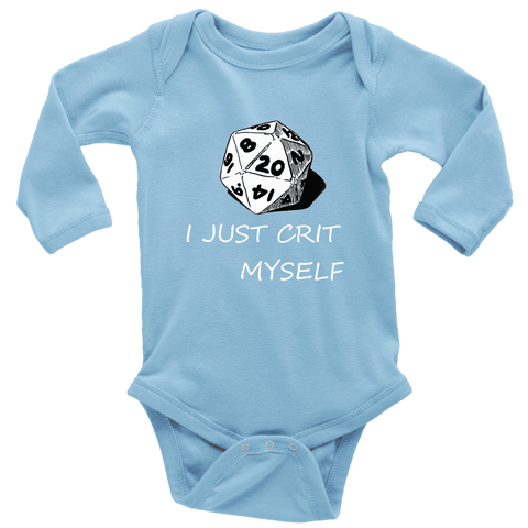 Image of I Just Crit Myself Onsies T-shirt Long Sleeve Baby Bodysuit Light Blue NB
