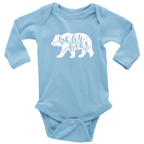 Baby Bear Shirts and Onesies T-shirt Long Sleeve Baby Bodysuit Light Blue NB
