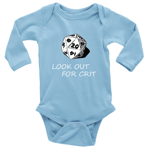 Image of Look Out For Crit Onesies T-shirt Long Sleeve Baby Bodysuit Light Blue NB