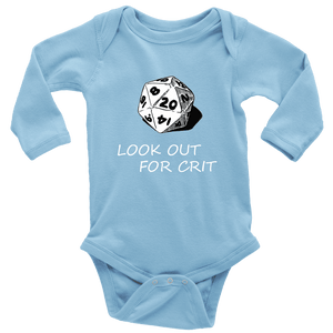 Look Out For Crit Onesies T-shirt Long Sleeve Baby Bodysuit Light Blue NB