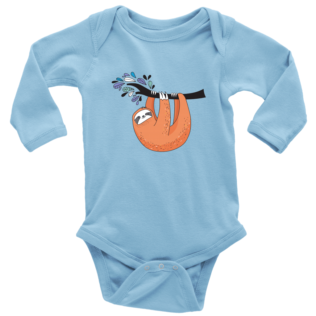 Just Hanging Onsies T-shirt Long Sleeve Baby Bodysuit Light Blue NB