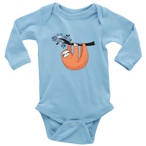 Image of Just Hanging Onsies T-shirt Long Sleeve Baby Bodysuit Light Blue NB