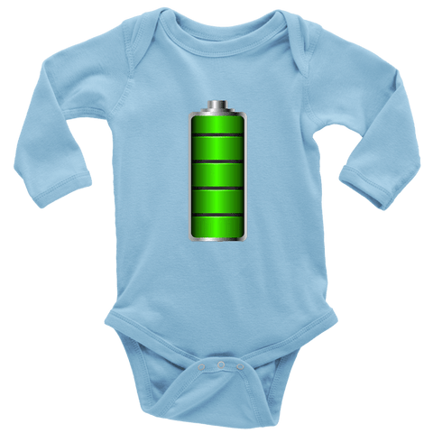 Image of Fully Charged Onsies T-shirt Long Sleeve Baby Bodysuit Light Blue NB
