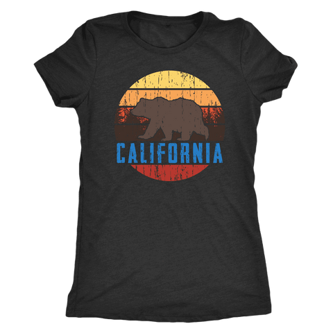 Image of Big Bear California Shirt V.1, Womens Shirts T-shirt Next Level Womens Triblend Vintage Black S