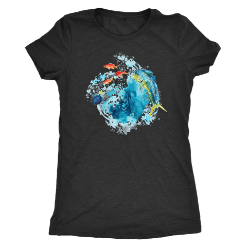 Image of Dorado Fish T-shirt Next Level Womens Triblend Vintage Black S