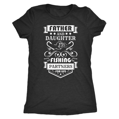 Image of Father and Daughter Fishing Partners T-shirt Next Level Womens Triblend Vintage Black S