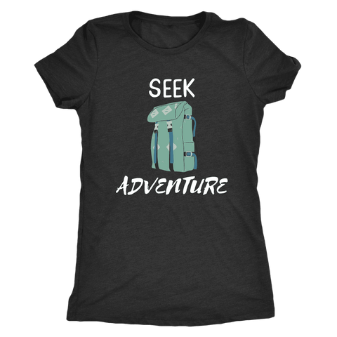 Image of Seek Adventure with Backpack (Womens) T-shirt Next Level Womens Triblend Vintage Black S