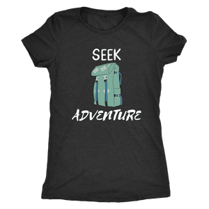 Seek Adventure with Backpack (Womens) T-shirt Next Level Womens Triblend Vintage Black S
