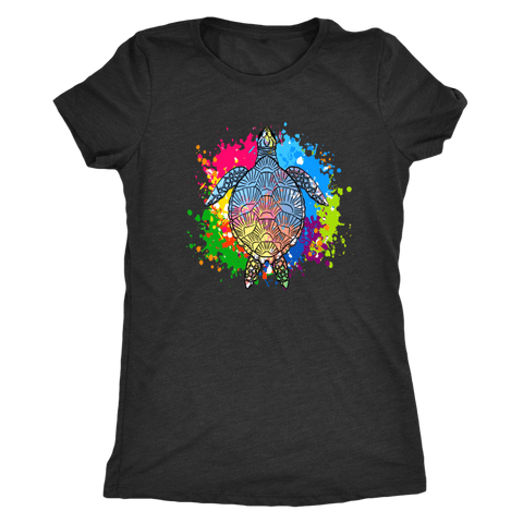Image of Vibrant Color Splash Sea Turtle T-shirt Next Level Womens Triblend Vintage Black S