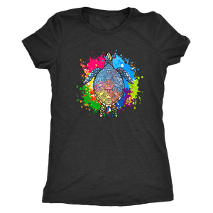 Vibrant Color Splash Sea Turtle T-shirt Next Level Womens Triblend Vintage Black S