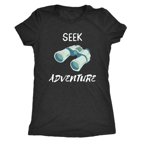 Image of Seek Adventure with Binoculars (Womens) T-shirt Next Level Womens Triblend Vintage Black S