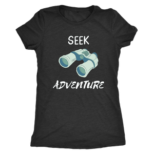 Seek Adventure with Binoculars (Womens) T-shirt Next Level Womens Triblend Vintage Black S