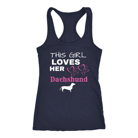 Image of This Girl Loves Her Dachshund T-shirt Next Level Racerback Tank Navy XS