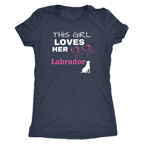 Image of This Girl Loves Her Lab T-shirt Next Level Womens Triblend Vintage Navy S