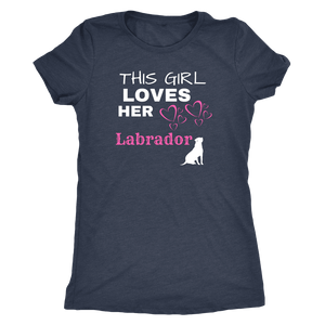This Girl Loves Her Lab T-shirt Next Level Womens Triblend Vintage Navy S