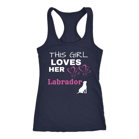 Image of This Girl Loves Her Lab T-shirt Next Level Racerback Tank Navy XS