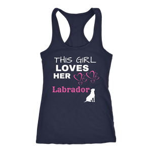This Girl Loves Her Lab T-shirt Next Level Racerback Tank Navy XS
