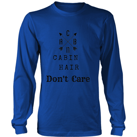 Image of CABN, Cabin Hair, Don't Care T-shirt Long Sleeve Shirt Royal Blue S