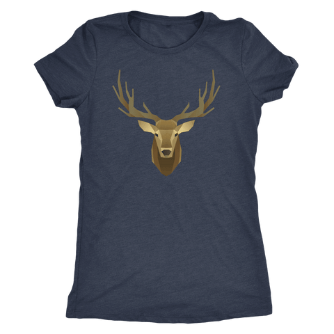 Image of Deer Portrait, Real T-shirt Next Level Womens Triblend Vintage Navy S