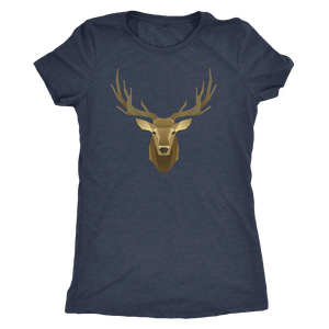Deer Portrait, Real T-shirt Next Level Womens Triblend Vintage Navy S