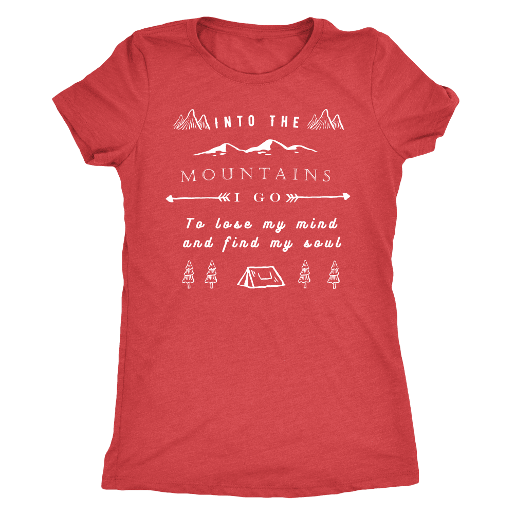 Into the Mountains I Go T-shirt Next Level Womens Triblend Vintage Red S