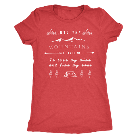 Image of Into the Mountains I Go T-shirt Next Level Womens Triblend Vintage Red S