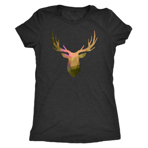 Deer Polygonal 2 T-shirt Next Level Womens Triblend Vintage Black S