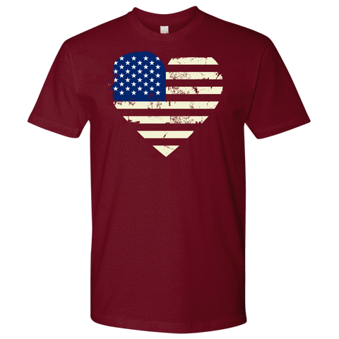 Image of Love America Men's Shirts Red T-shirt Next Level Mens Shirt Cardinal S