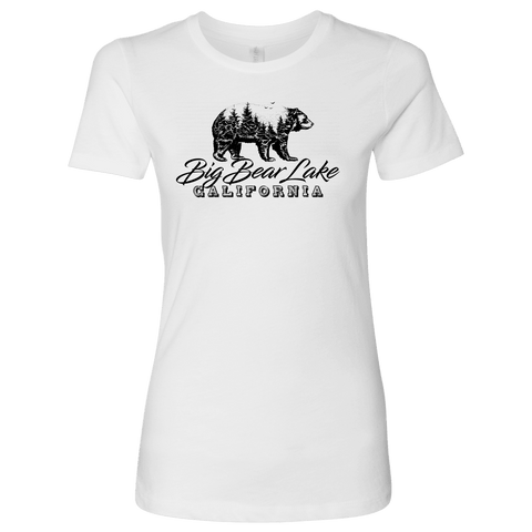 Image of Big Bear Lake California V.2, Womens, Black T-shirt Next Level Womens Shirt White S