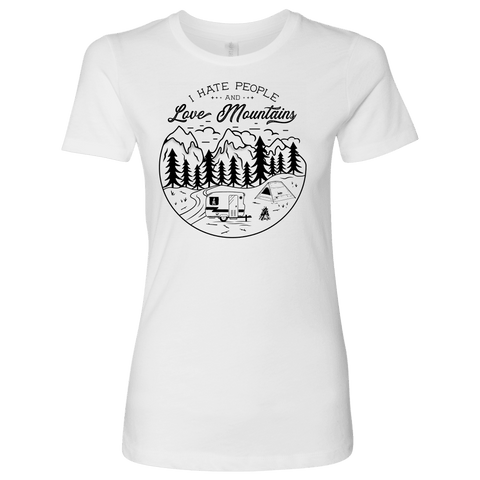 Image of Love The Mountains Womens T-shirt Next Level Womens Shirt White S