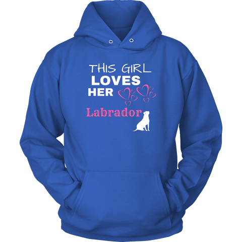 Image of This Girl Loves Her Lab T-shirt Unisex Hoodie Royal Blue S