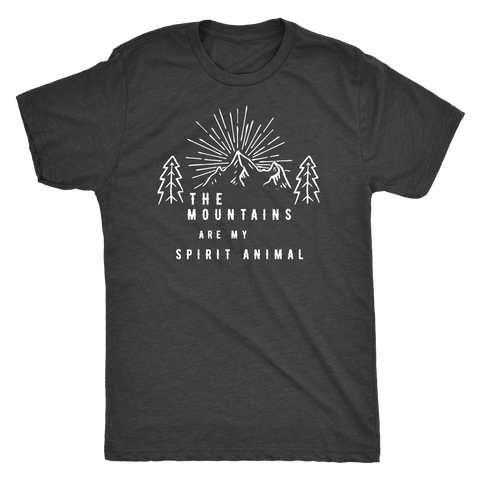 Image of Mountains Spirit T Shirt 1 T-shirt Next Level Mens Triblend Vintage Black S