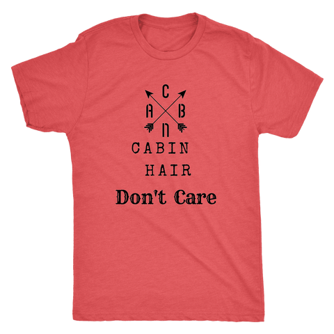 Image of CABN, Cabin Hair, Don't Care T-shirt Next Level Mens Triblend Vintage Red S