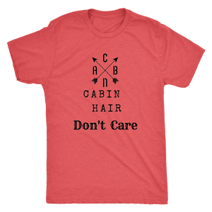 CABN, Cabin Hair, Don't Care T-shirt Next Level Mens Triblend Vintage Red S