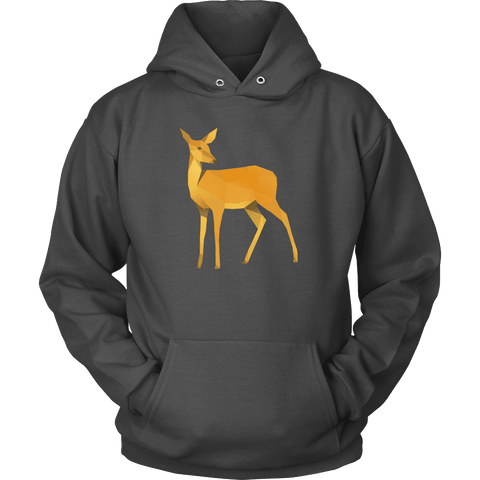 Image of Polygonal Doe T-shirt Unisex Hoodie Charcoal S