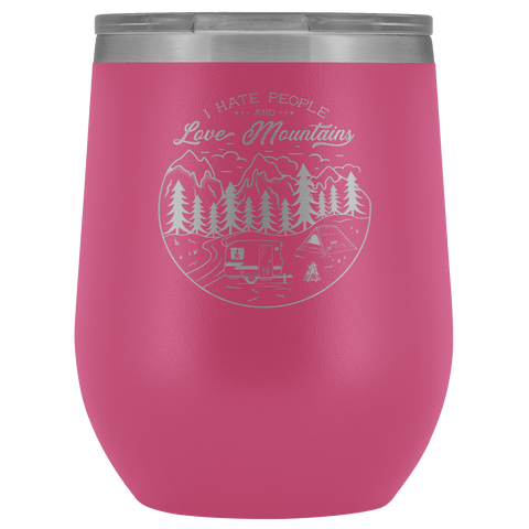 Image of Love The Mountains | Wine Tumbler Wine Tumbler Pink
