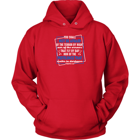 Image of You shall not be afraid Psalm 91 5-6 White Longsleeve and Hoodies T-shirt Unisex Hoodie Red S
