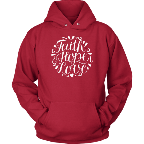 Image of Faith Hope and Love, White Print T-shirt Unisex Hoodie Red S