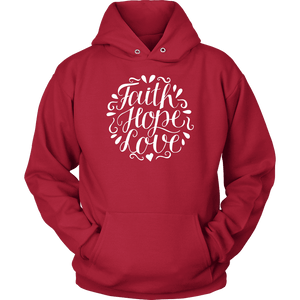 Faith Hope and Love, White Print T-shirt Unisex Hoodie Red S