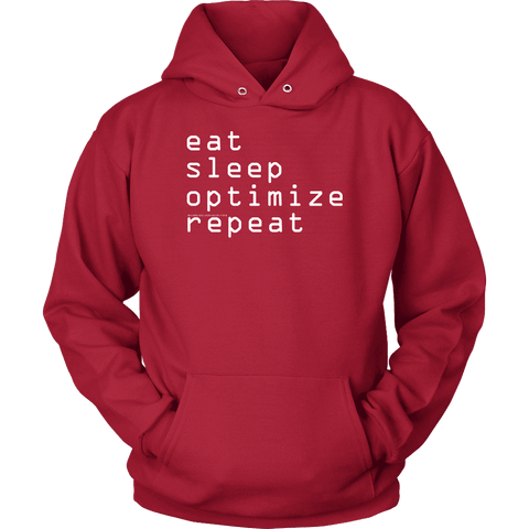Image of eat, sleep, optimize repeat Hoodie V.1 T-shirt Unisex Hoodie Red S